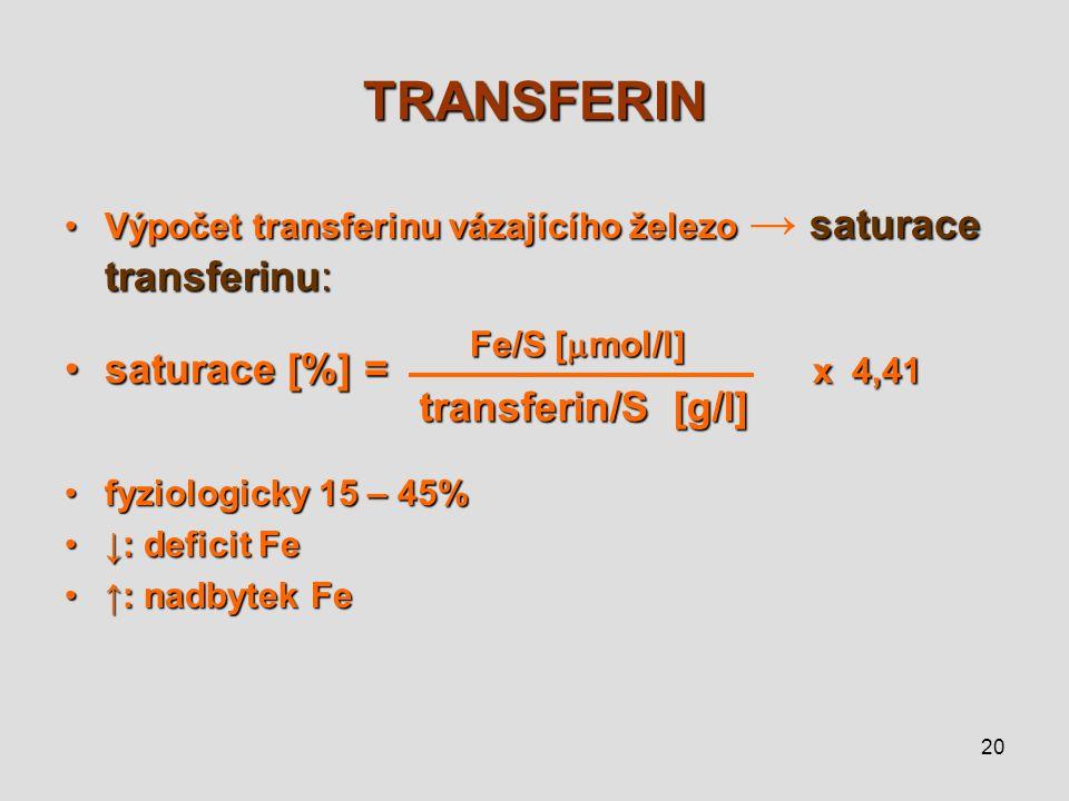 TRANSFERIN saturace [%] = x 4,41 transferin/S [g/l]